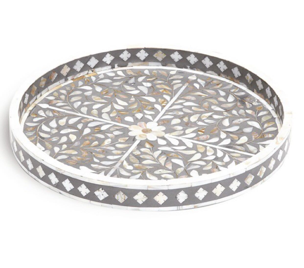 Grey Mother of Pearl Bone Inlay Tray by Peacocks and Paisley, a Trays for sale on Style Sourcebook