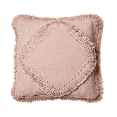 Mercer   Reid Boracay Cushion 45x45cm Blush Fringed By Adairs by Adairs, a Cushions, Decorative Pillows for sale on Style Sourcebook