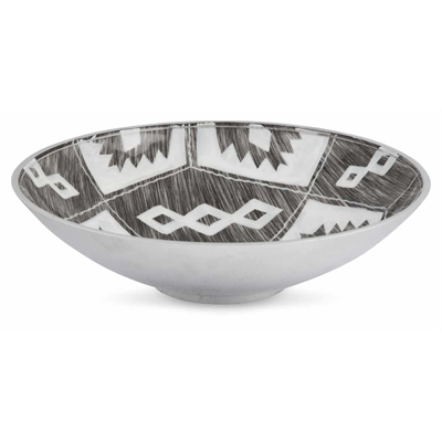 Aluminium Round Bowl Aztec Design 40 by April & Oak, a Decorative Plates & Bowls for sale on Style Sourcebook