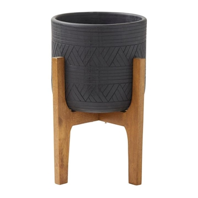 Canyon Ceramic Planter Pot on Stand, Black by Amalfi, a Plant Holders for sale on Style Sourcebook