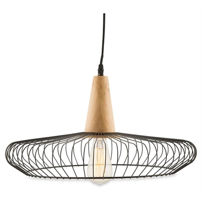 Iron and Wood Round Geo Pendant Light by April & Oak, a Pendant Lighting for sale on Style Sourcebook