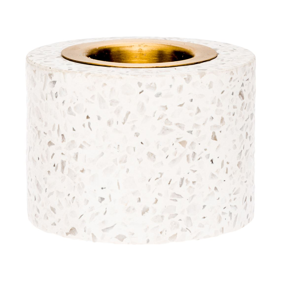 Terrazzo Tealight Holder Size W 9cm x D 9cm x H 6cm in White Terrazzo/Brass Freedom by Freedom, a Plants for sale on Style Sourcebook
