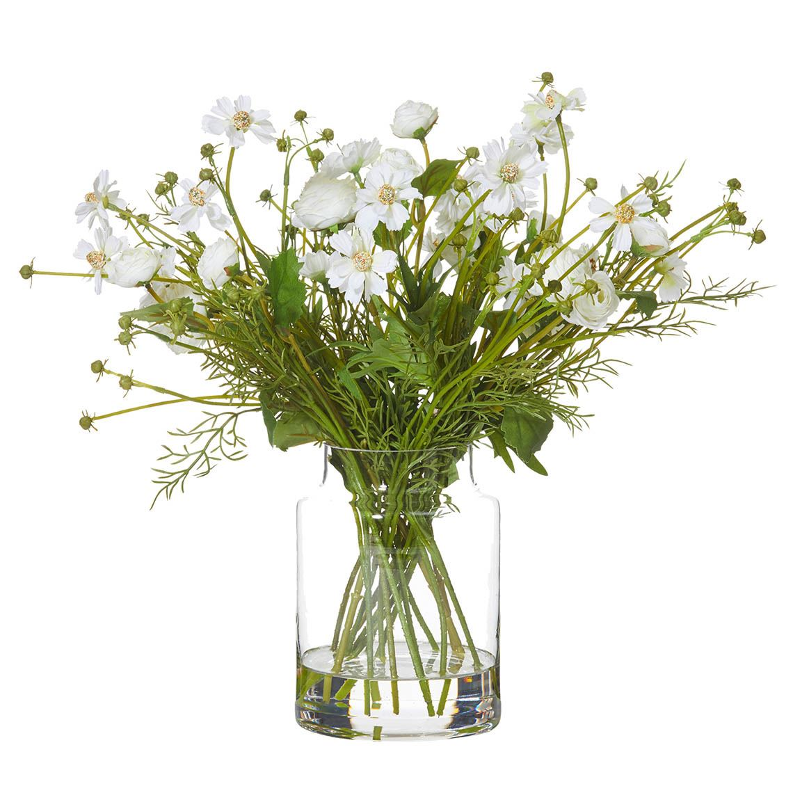Daisy Mix In Vase Size W 52cm x D 52cm x H 42cm in White Plastic/Wire Freedom by Freedom, a Plants for sale on Style Sourcebook