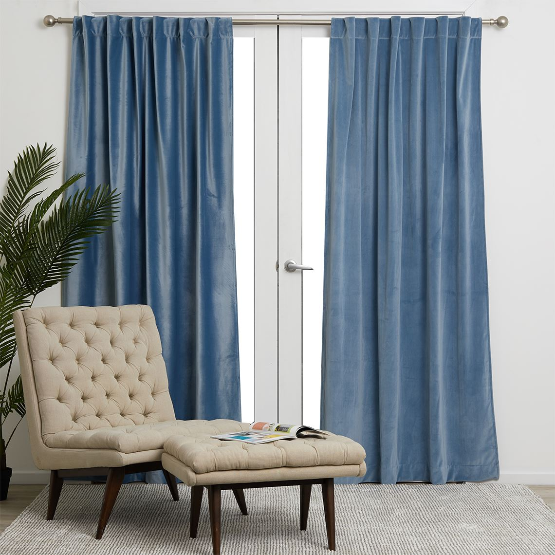 Velvet Concealed Tab, Powder Size W 180cm x D 0cm x H 250cm Polyester Freedom by Freedom, a Curtains for sale on Style Sourcebook