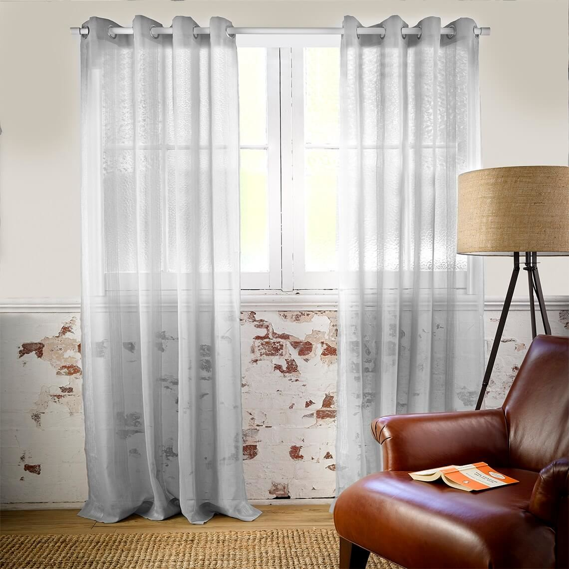 Houston Sheer Curtain Size W 180cm x D 1cm x H 250cm in Silver Polyester/Stainless Steel Eyelets Freedom by Freedom, a Curtains for sale on Style Sourcebook