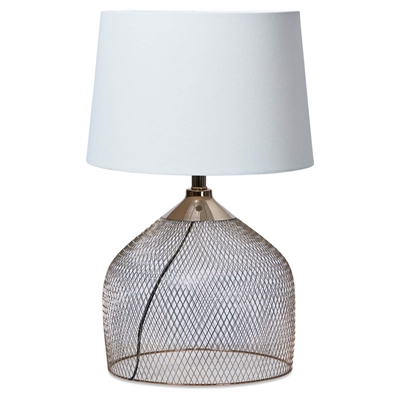 Mesh Metal Table Lamp with Linen Shade - Rose Gold by April & Oak, a Table & Bedside Lamps for sale on Style Sourcebook