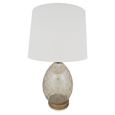 Champagne Egg Glass Table Lamp with Linen Shade - Antique Brass by April & Oak, a Champagne Glasses for sale on Style Sourcebook