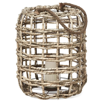 Maize Lantern with Rope Handle - Light Grey by April & Oak, a Lanterns for sale on Style Sourcebook
