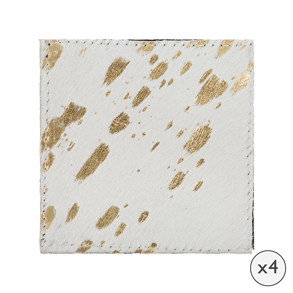 A by AMARA - Metallic Acid Cowhide Coasters - Set of 4 - Gold by A by Amara, a Barware for sale on Style Sourcebook