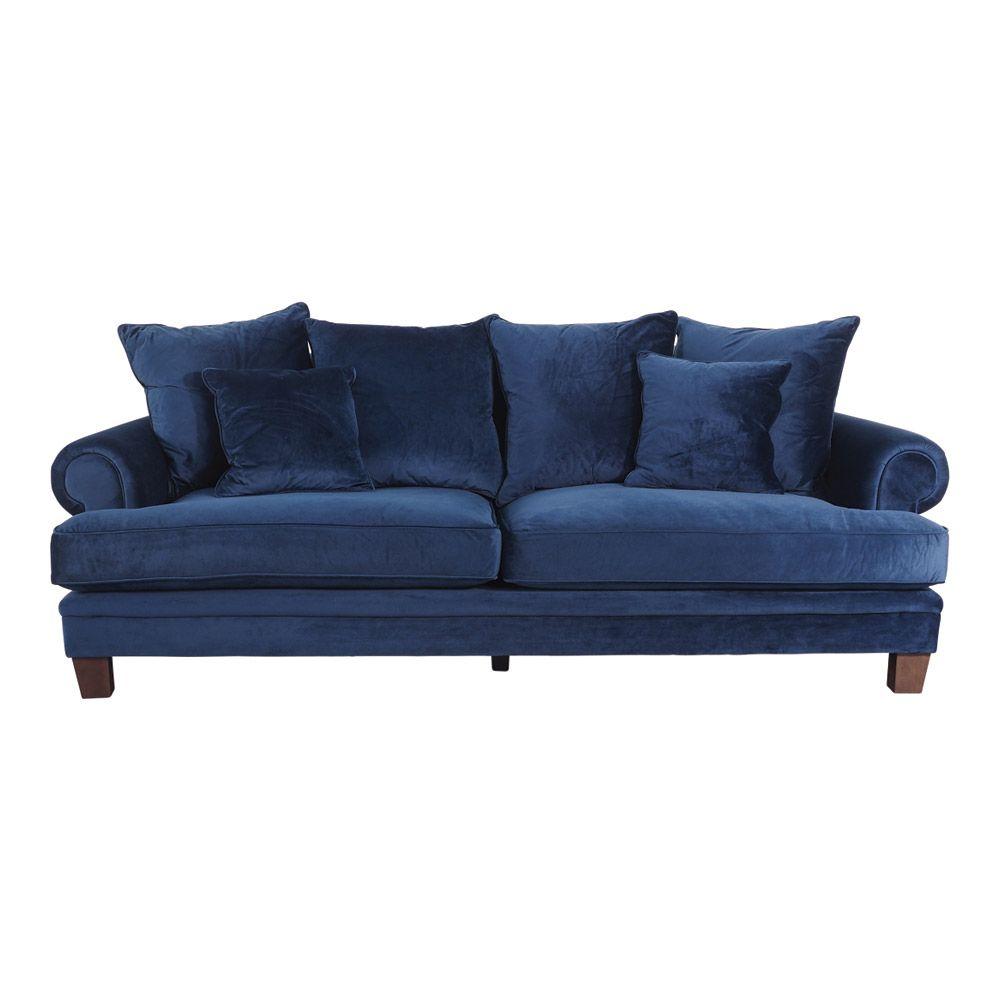 Lisette 3.5 Seater Sofa Indigo Velvet by Early Settler, a Sofas for sale on Style Sourcebook