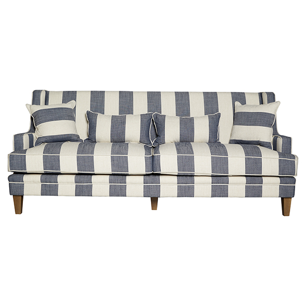 Grey & Cream Wide Stripe 3 Seat Sofa by OneWorld Collection, a Sofas for sale on Style Sourcebook