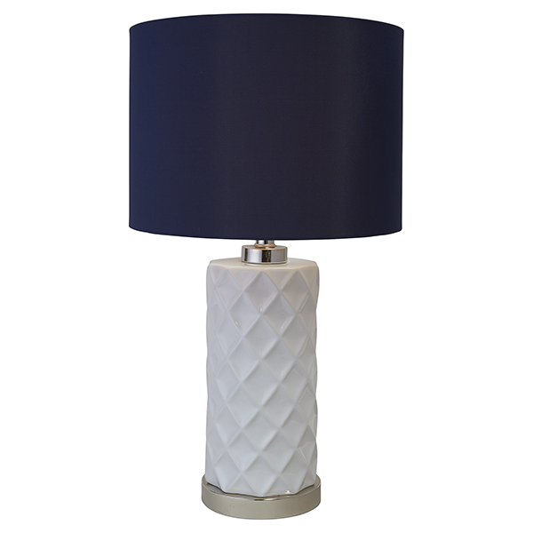 Hampton White Ceramic Lamp W/N.Blue Shade by OneWorld Collection, a Table & Bedside Lamps for sale on Style Sourcebook