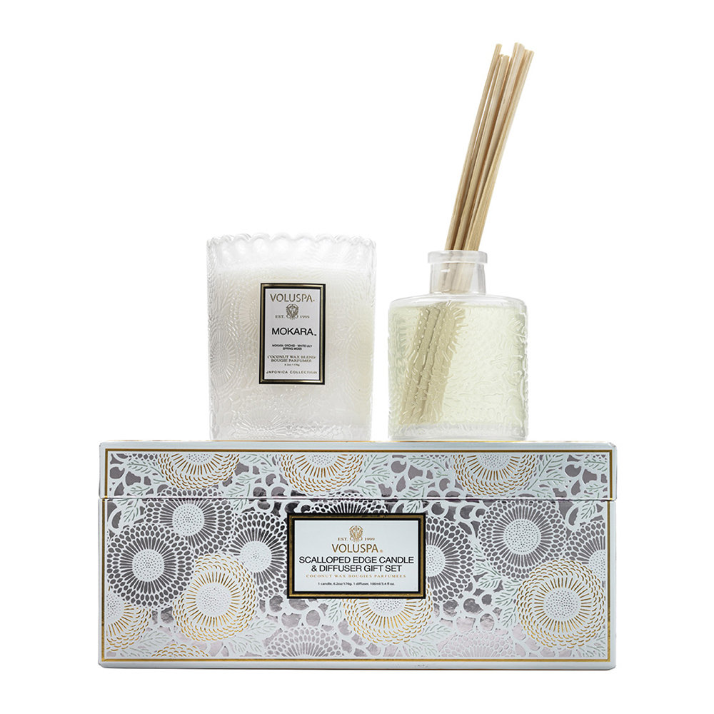 Voluspa - Scalloped-Edge Candle & Diffuser Gift Set - Mokara by Voluspa, a Candles for sale on Style Sourcebook