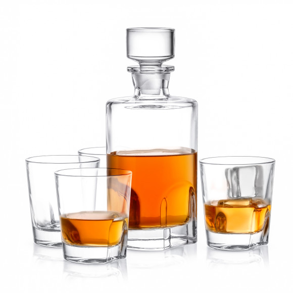 Carina Non-Leaded Crystal 5-Piece Whiskey Decanter Set by JoyJolt, a Decanters & Carafs for sale on Style Sourcebook