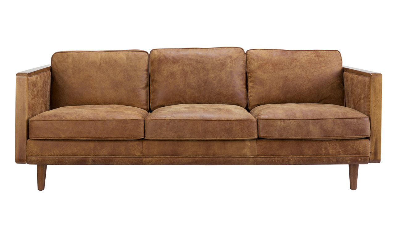 Meillon Semi-Aniline Leather 3 Seater Lounge by Focus On Furniture, a Sofas for sale on Style Sourcebook