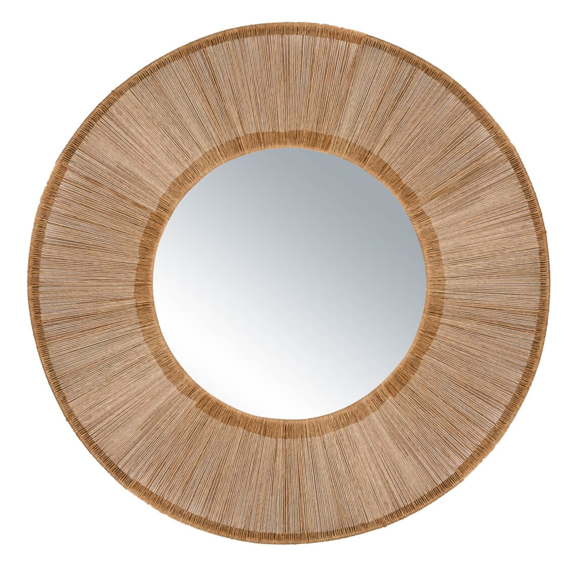 Keighley Round Mirror Size W 93cm x D 4cm x H 93cm in Natural Iron/Jute/Mirrored Glass Freedom by Freedom, a Mirrors for sale on Style Sourcebook