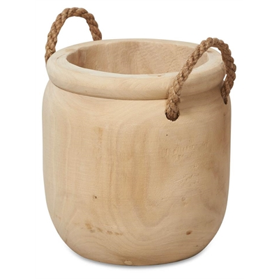 Rope Handle Paulownia Wood Planter Medium - Bleached by April & Oak, a Plant Holders for sale on Style Sourcebook