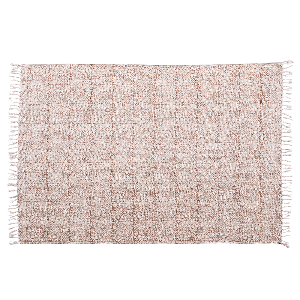 Chirala Daisy Chain Hand Blocked Blush Pink Cotton Rug 120 x 180 cm by Early Settler, a Contemporary Rugs for sale on Style Sourcebook