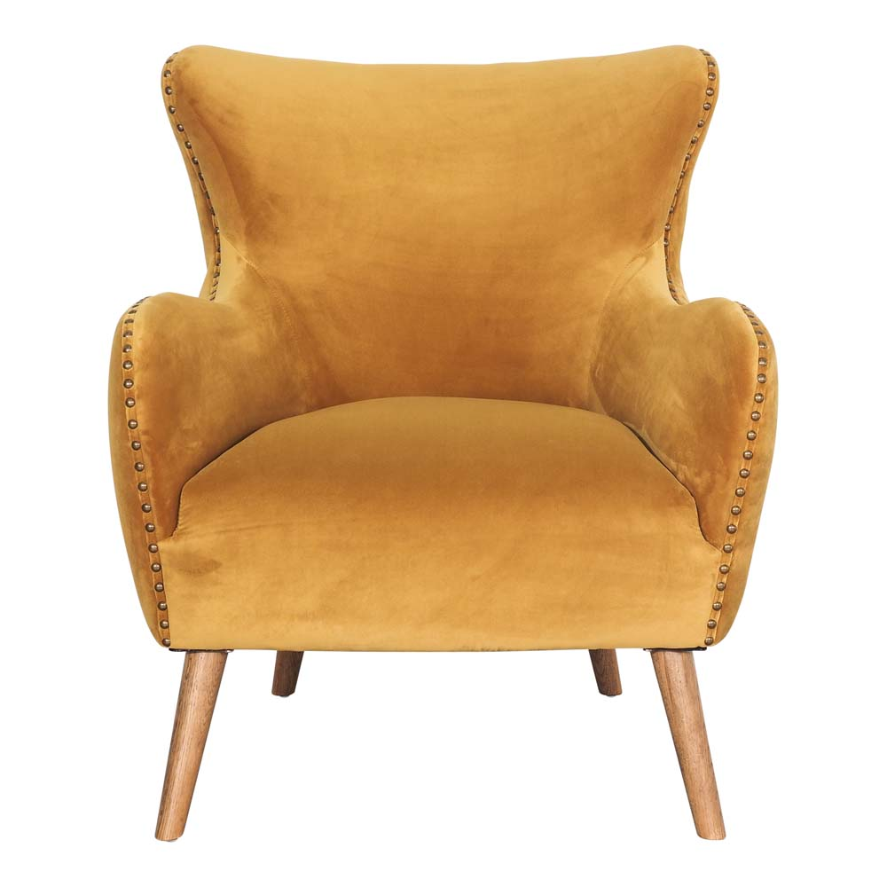 Clementine Armchair Gold with Oak Legs by Early Settler, a Chairs for sale on Style Sourcebook