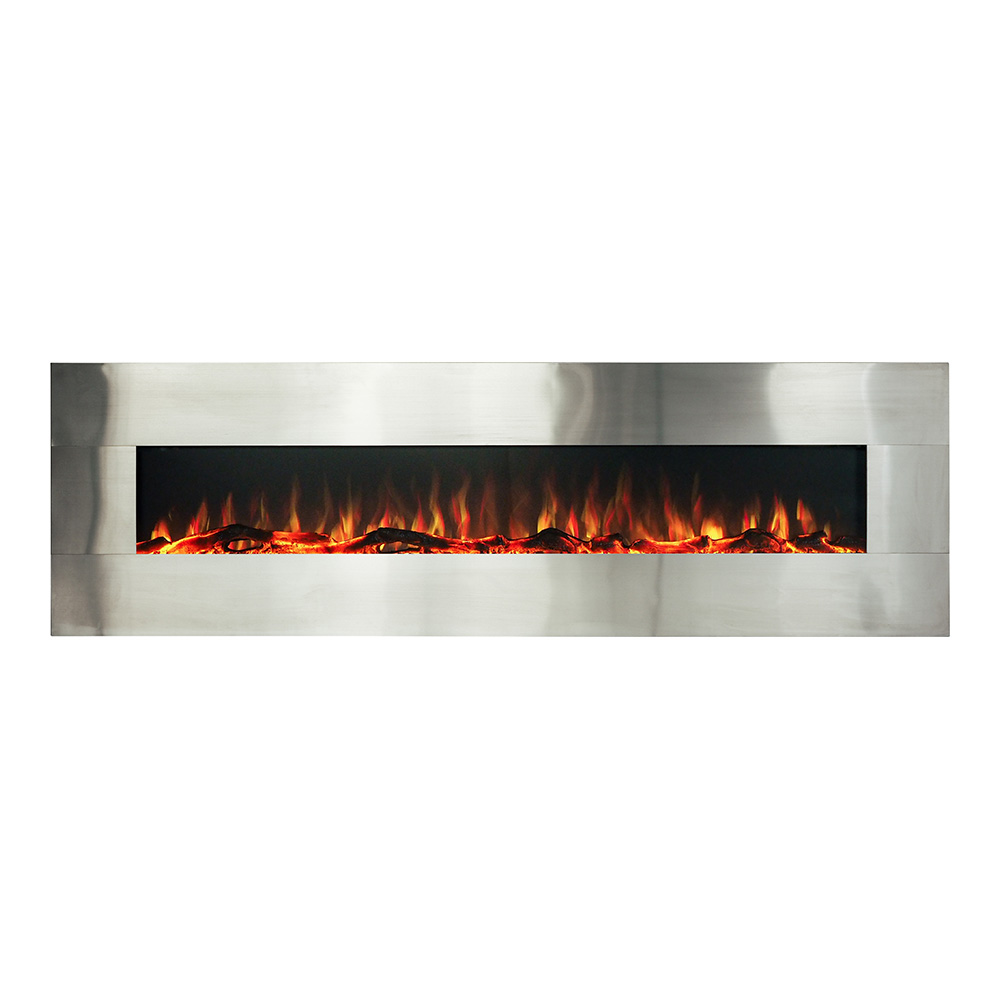 Longton Wall Mounted Electric Fireplace Brushed Stainless Steel 182cm by Early Settler, a Fireplaces for sale on Style Sourcebook