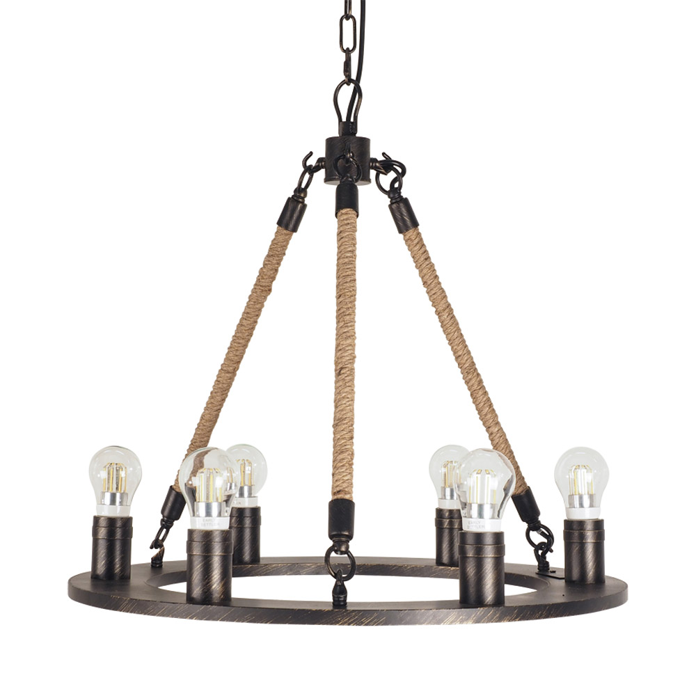 Luna 6 Light Rope Chandelier by Early Settler, a Pendant Lighting for sale on Style Sourcebook