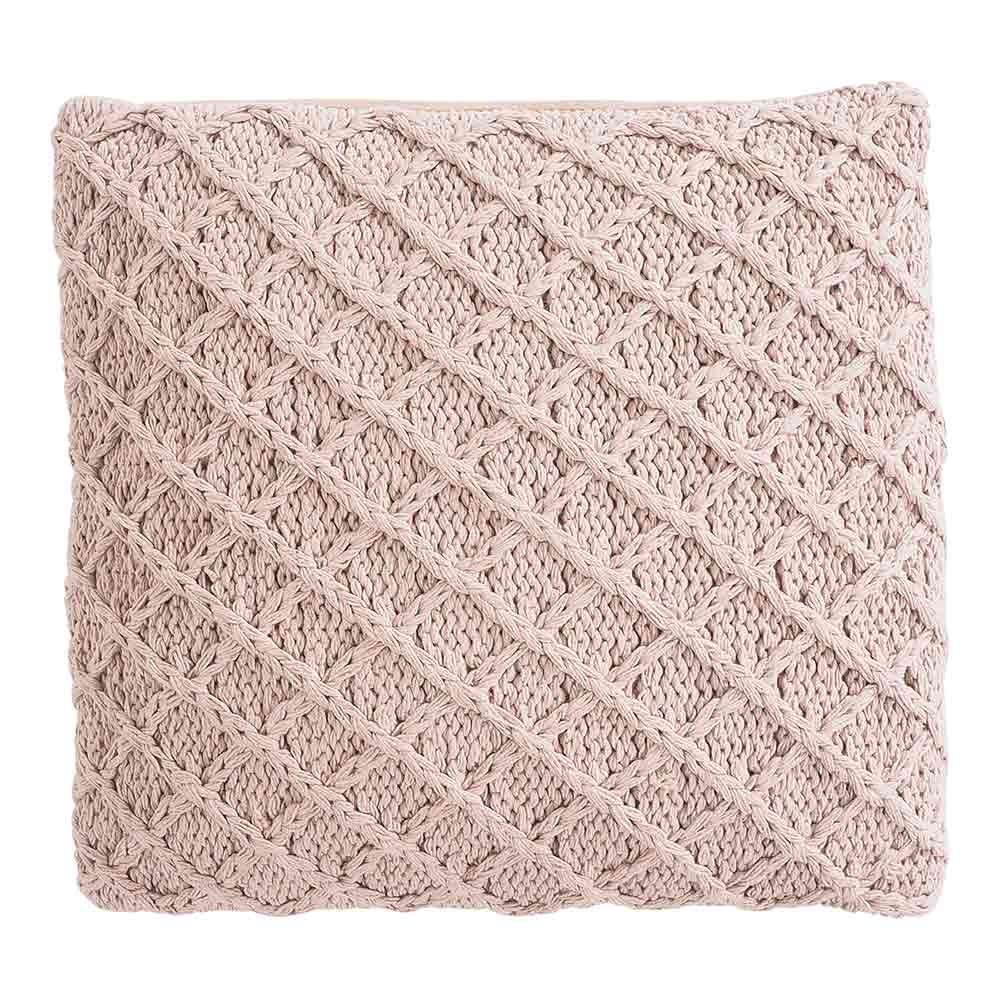 Marnie Diamond Knitted Pink Cushion 45x45cm by Early Settler, a Cushions, Decorative Pillows for sale on Style Sourcebook