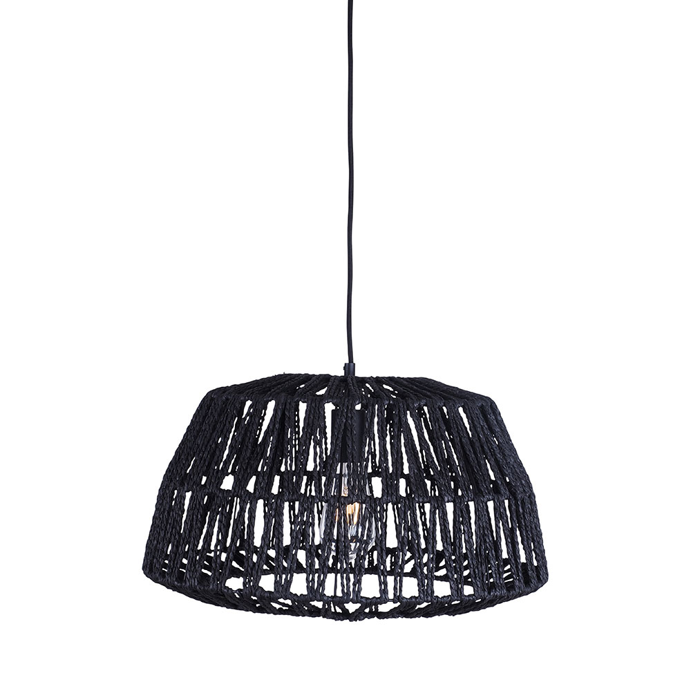 Woven Jute Bell Pendant Black 25cm by Early Settler, a Pendant Lighting for sale on Style Sourcebook
