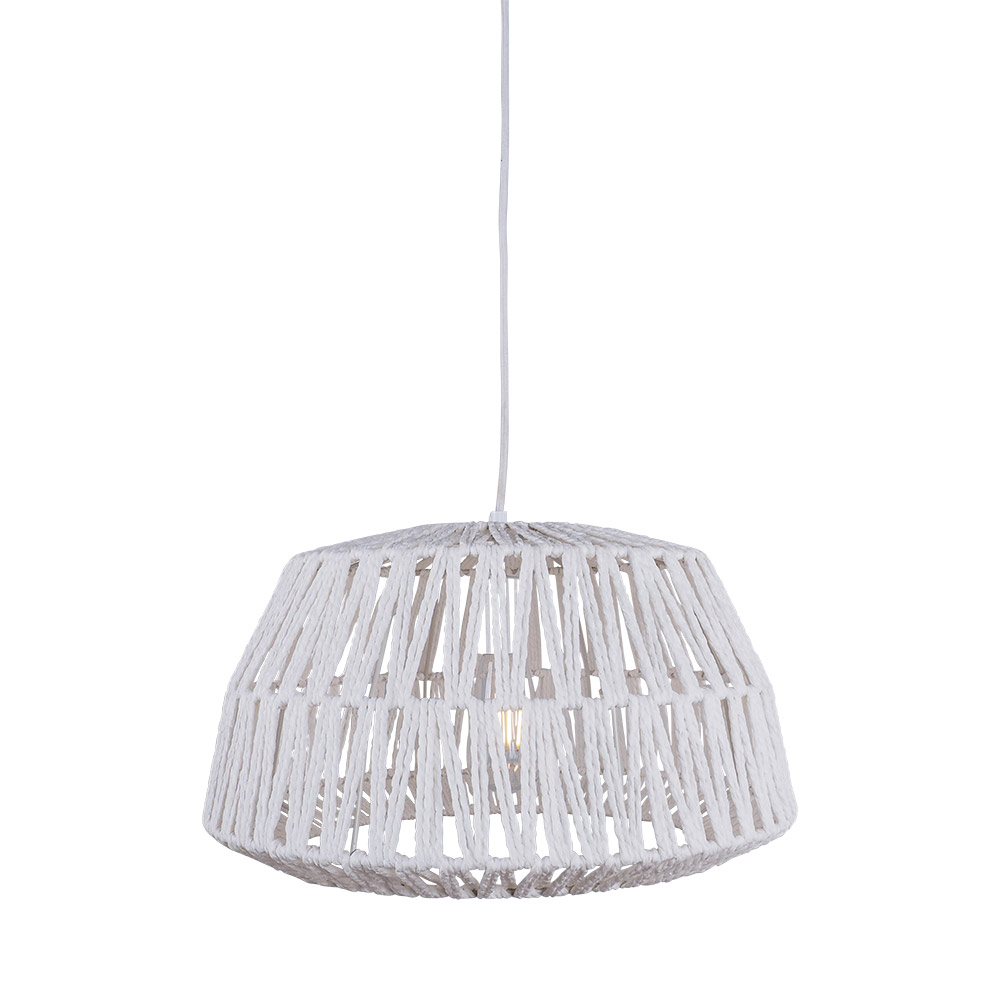 Woven Jute Bell Pendant White 25cm by Early Settler, a Pendant Lighting for sale on Style Sourcebook