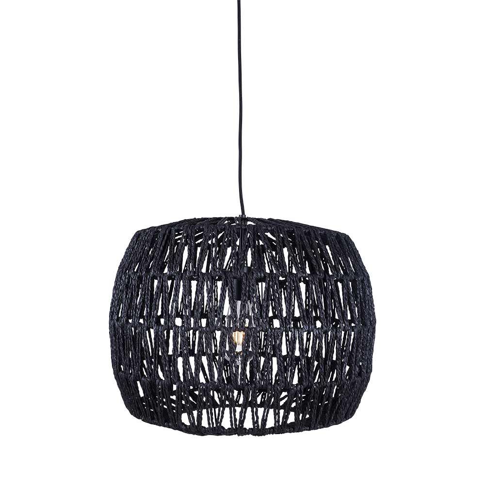 Woven Jute Sphere Pendant Black 35cm by Early Settler, a Pendant Lighting for sale on Style Sourcebook