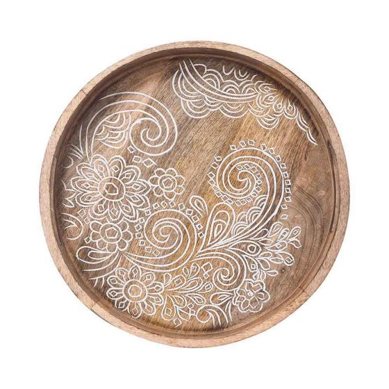 Frieze Wooden Round Carved Tray 45x45x5 Cm by Early Settler, a Trays for sale on Style Sourcebook