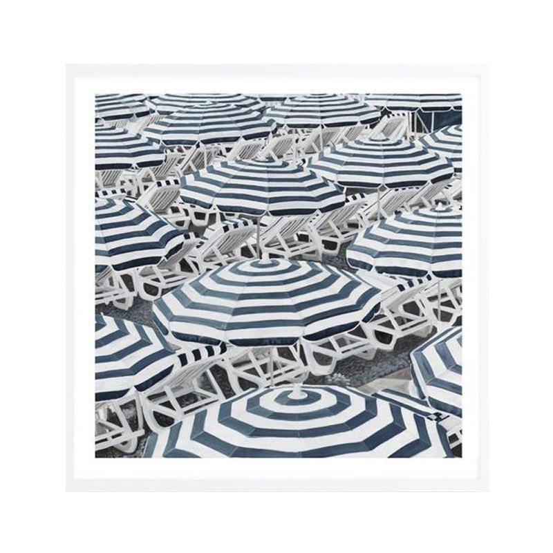 Dark Blue Beach Umbrellas (Square) Art Print by The Print Emporium, a Prints for sale on Style Sourcebook