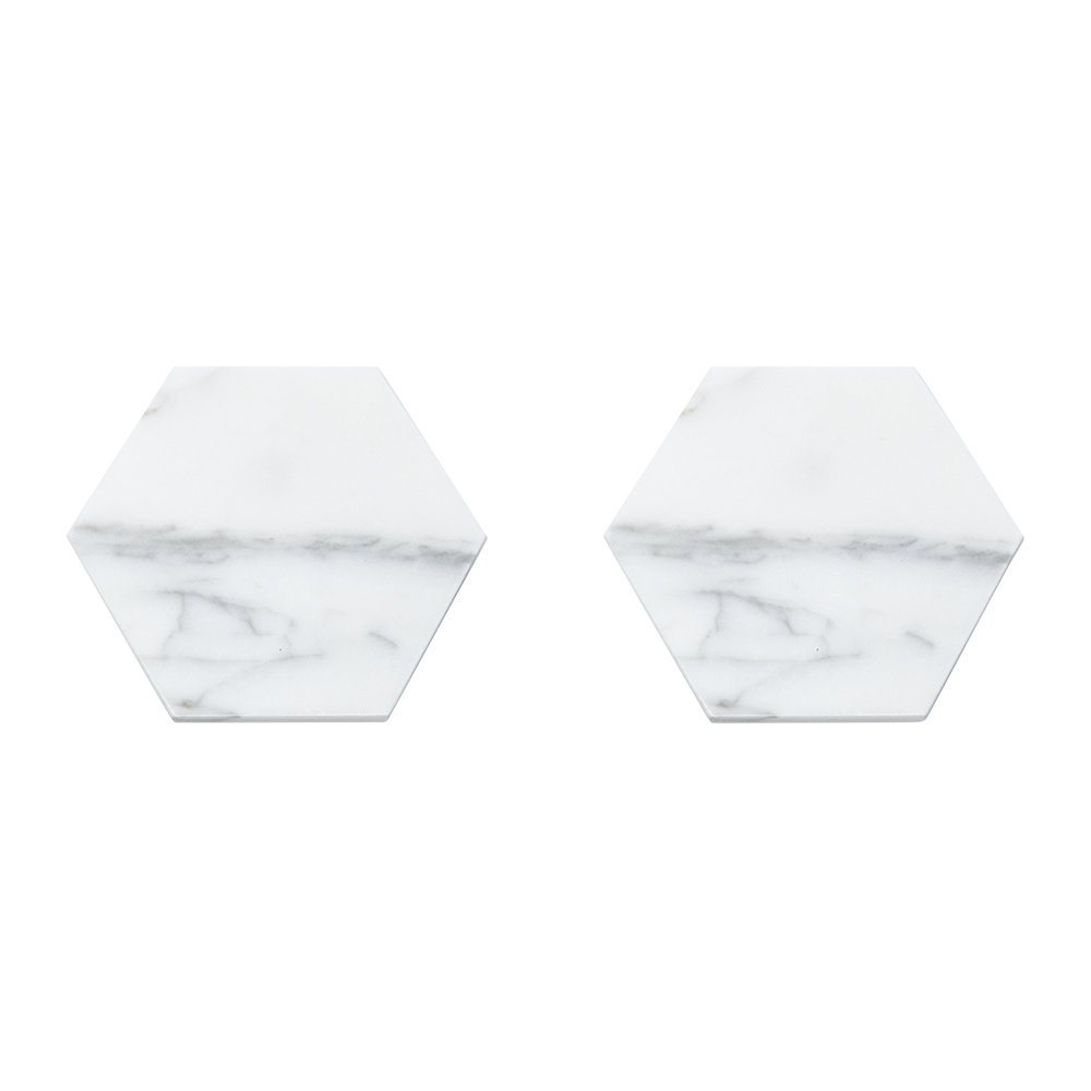 Fiammetta V - Hexagonal Marble Coasters - Set of 2 - White by Fiammetta V, a Barware for sale on Style Sourcebook