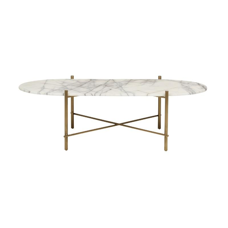Elle Pipe Oval Marble Coffee Table - Snow White Marble, Brushed Gold B by Urban Rhythm, a Coffee Table for sale on Style Sourcebook