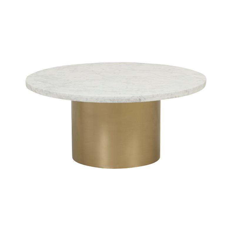 Elle Pillar Marble Coffee Table - Matte White Marble, Brushed Gold Bas by Urban Rhythm, a Coffee Table for sale on Style Sourcebook