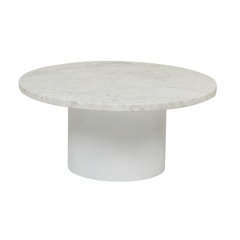 Elle Pillar Marble Coffee Table - Matte White Marble, White Base by Urban Rhythm, a Coffee Table for sale on Style Sourcebook