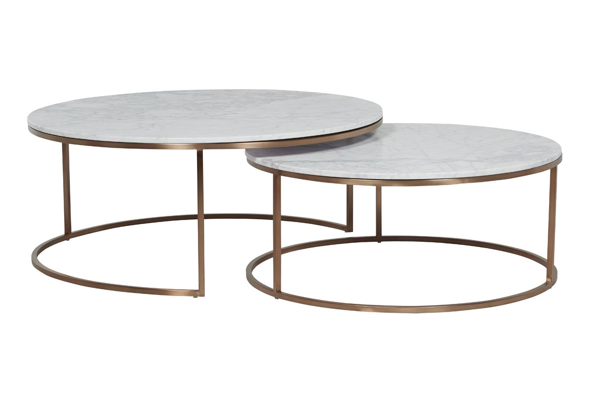 Elle Round Marble Nest Coffee Tables - White Marble, Black Base by Urban Rhythm, a Coffee Table for sale on Style Sourcebook