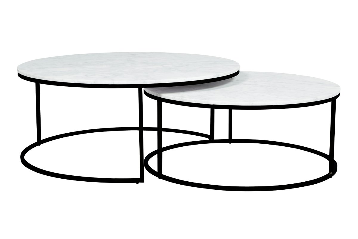 Elle Round Marble Nest Coffee Tables - White Marble, Brushed Gold Base
