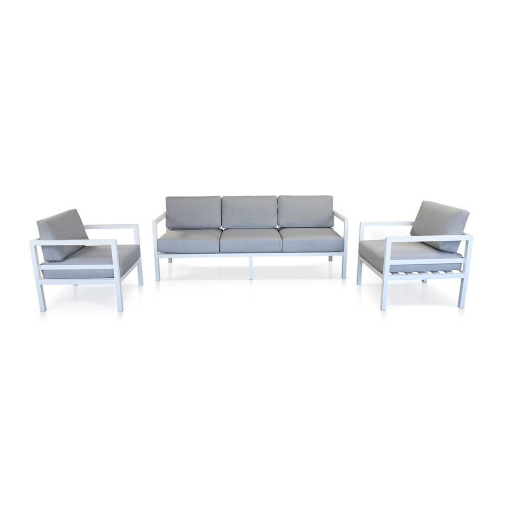 3 Piece Cadiz White & Grey Lounge Suite by James Lane, a Outdoor Sofas for sale on Style Sourcebook