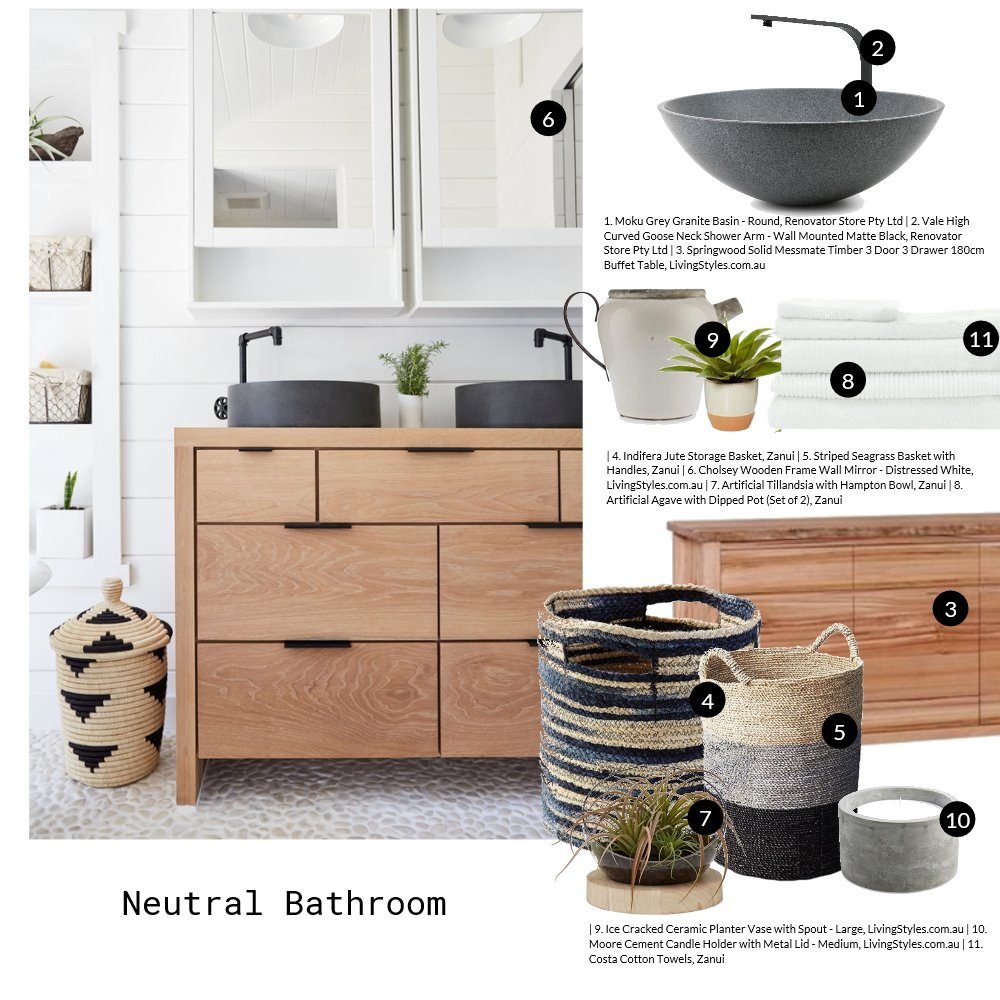 Neutral Bathroom Mood Board by Jo Taylor on Style Sourcebook