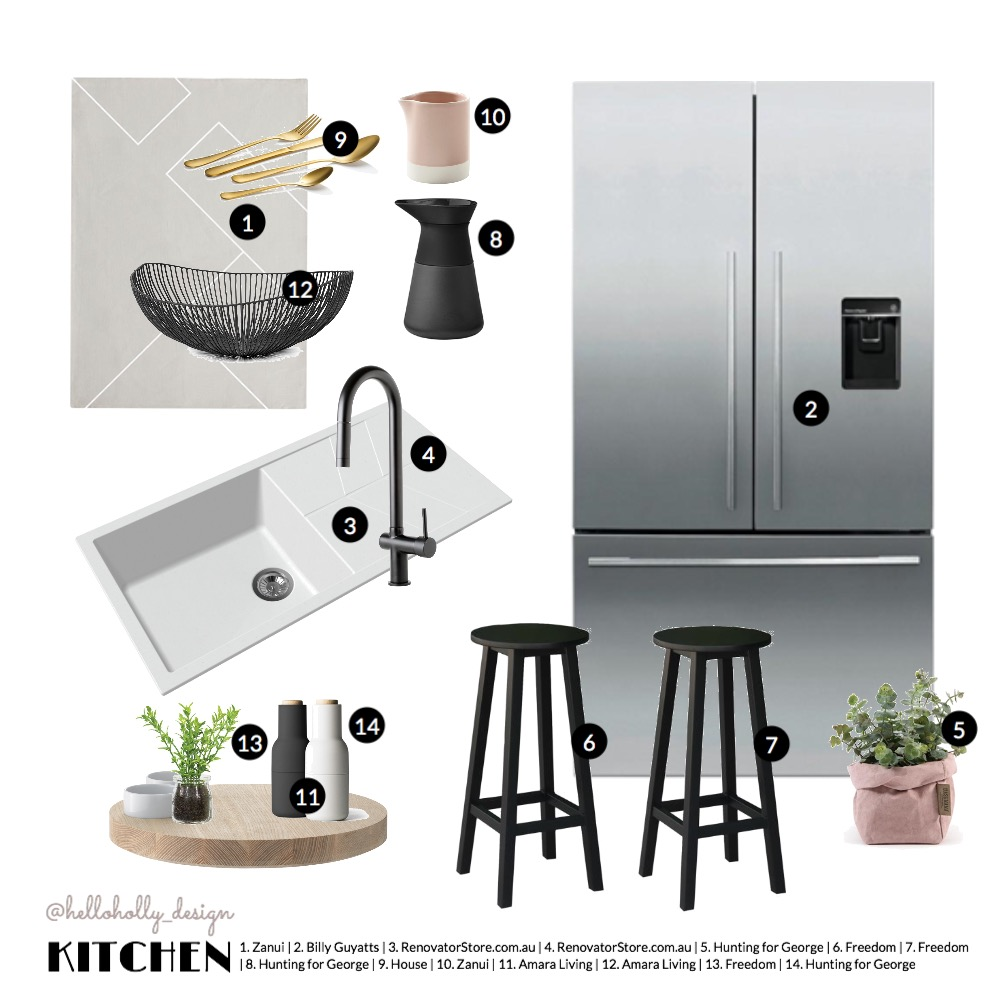 BW Kitchen Mood Board by hollymiskimmin on Style Sourcebook