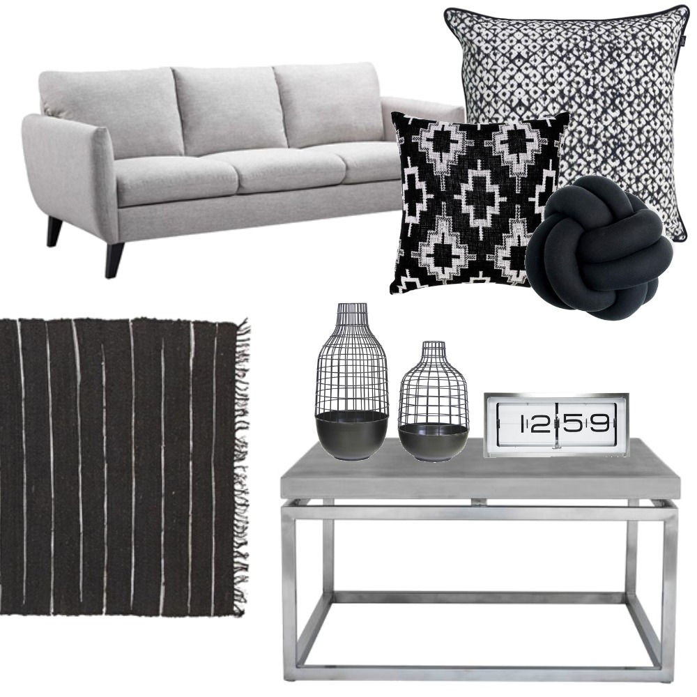 Black & Grey Modern Lounge Mood Board by Justine Spencer on Style Sourcebook