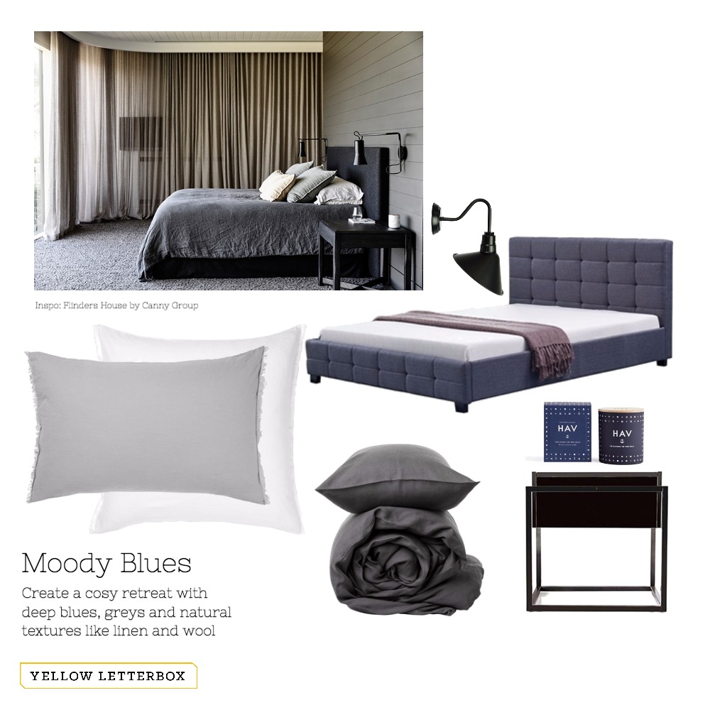 Moody Blues bedroom Mood Board by Yellow Letterbox on Style Sourcebook