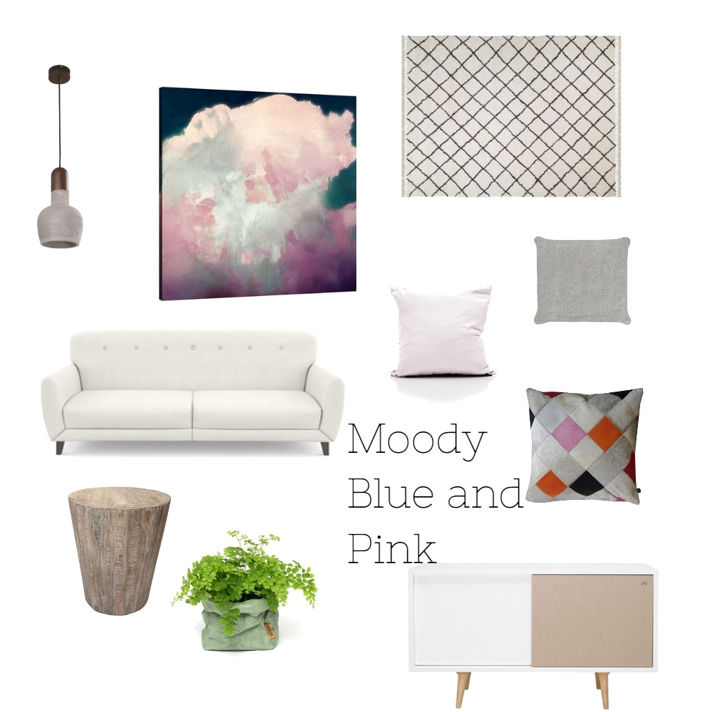 Moody Blue and Pink Living Room Mood Board by Ariella on Style Sourcebook