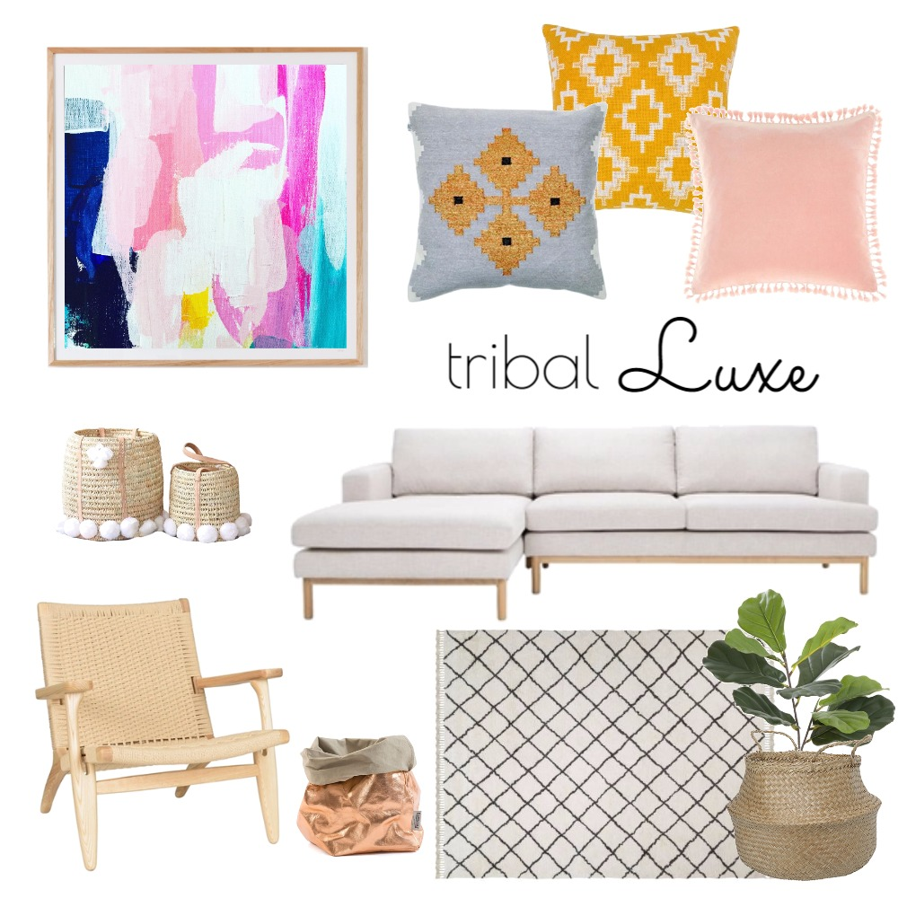 Tribal Luxe Interior Design Mood Board by Maggi McDonald Art & Design on Style Sourcebook