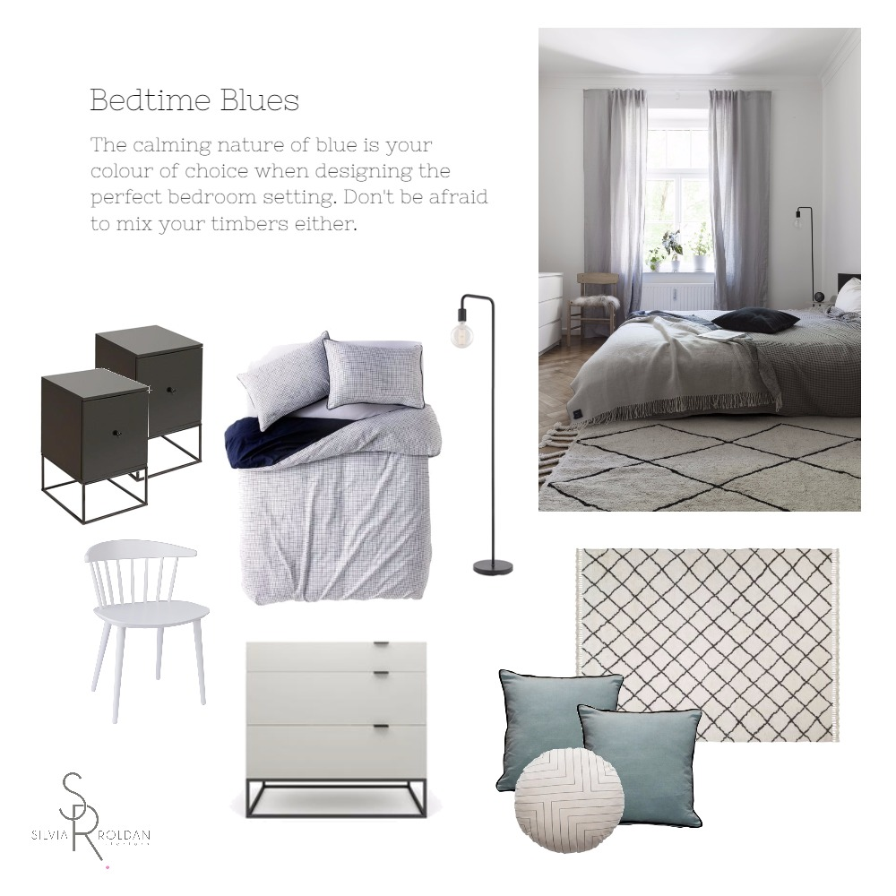 Bedroom Blues Interior Design Mood Board by Silvia Roldan Interiors on Style Sourcebook