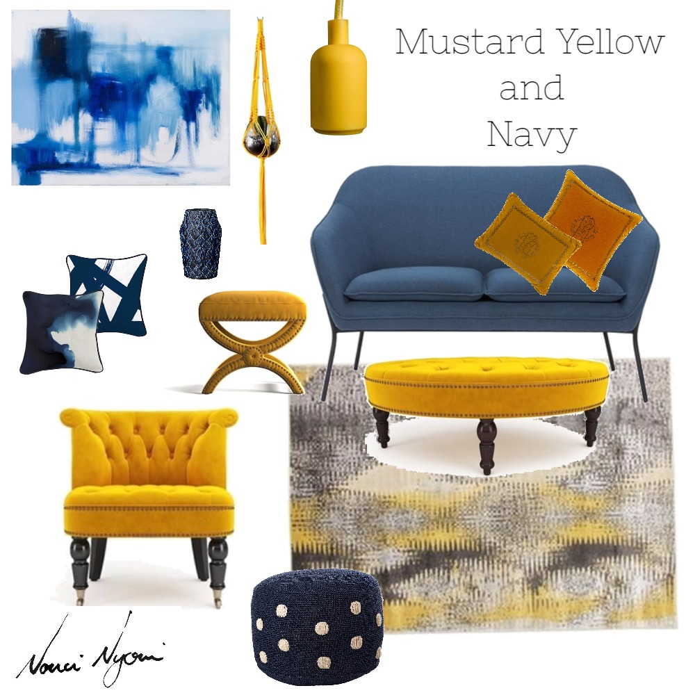 Mustard Yellow and Navy Mood Board by Nonceba Nyoni on Style Sourcebook