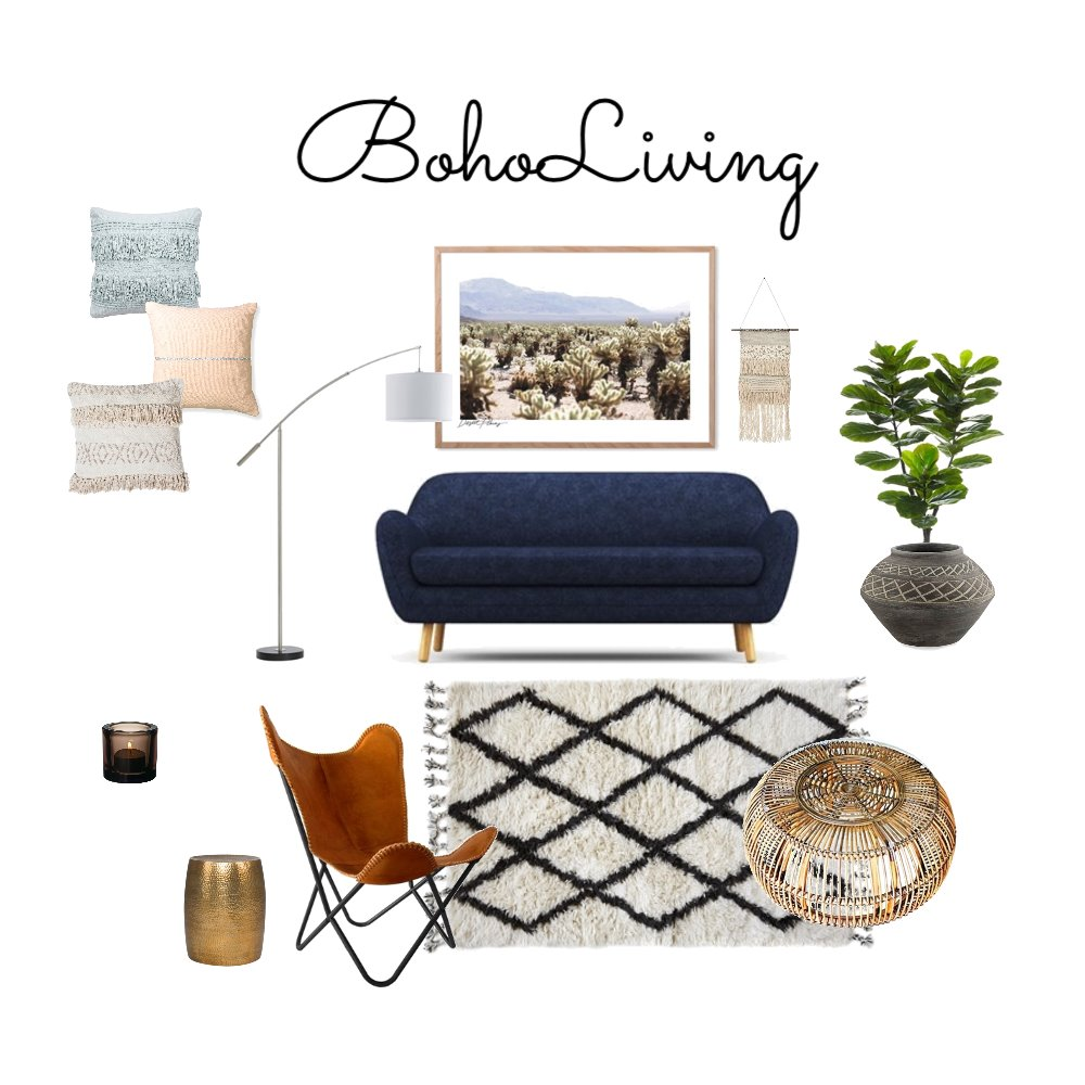 Boho Living Mood Board by Bask Interiors on Style Sourcebook