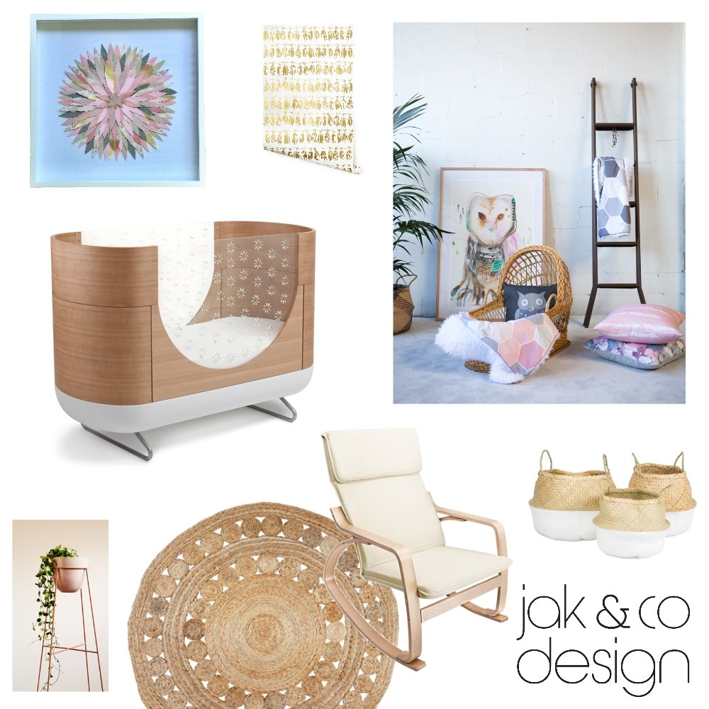 Natural, Pink & Gold Nursery Mood Board by jakandcodesign on Style Sourcebook