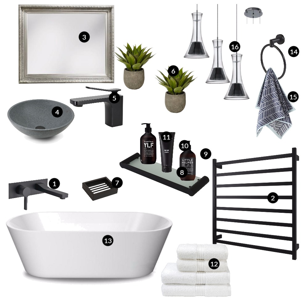 Black Bathroom Mood Board by renovatormate on Style Sourcebook