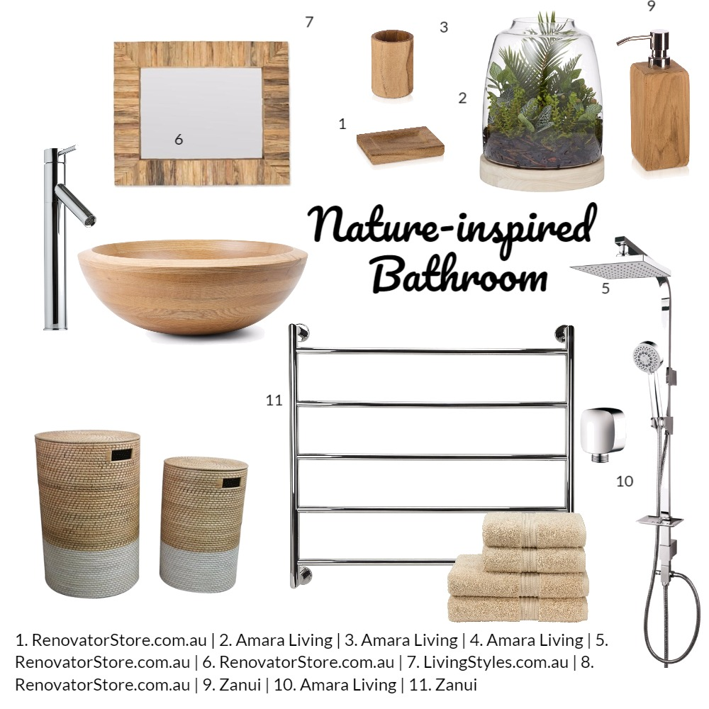 Nature themed bathroom Mood Board by renovatormate on Style Sourcebook
